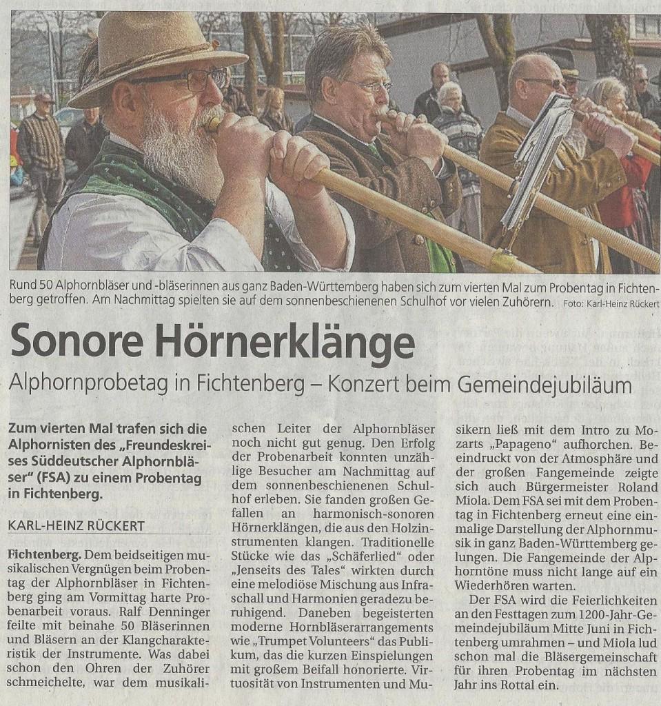 FSA-Probe Rundschau für den Schwäbischen Wald vom 21.3.2016, Karl-Heinz Rückert